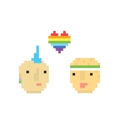 Pixel art style two homosexual boys vector image