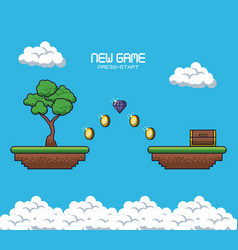 pixelated game scenery vector image