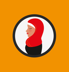 Profile islamic woman with traditional burka vector