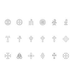 Religious cross black color set outline style vector
