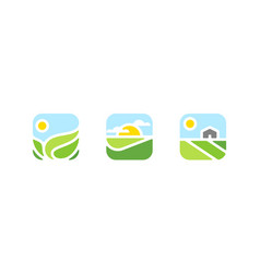 Rural landscape with farm logo or icon vector