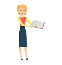 School Teacher with Textbook vector image