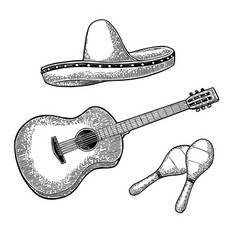 Set for poster mexican carnival guitar maracas vector