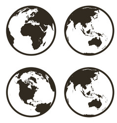 set globe earth icon flat style on white vector image
