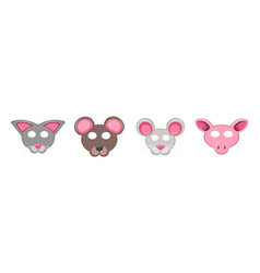 set of animal masks for the holiday collection of vector image