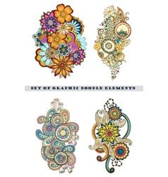 Set of Henna Paisley Mehndi Doodle Element vector image