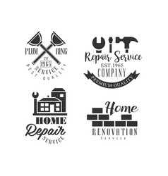 set of logos for repair services black and white vector image