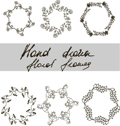 Set of monochrome hand drawn floral frames vector image