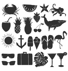 set summer elements silhouettes vector image