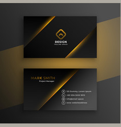 Shiny black modern business card template design vector