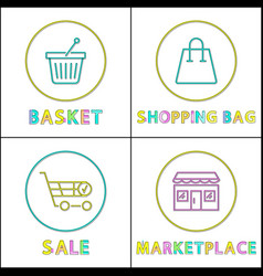 shopping bag and basket sale in marketplace cards vector image
