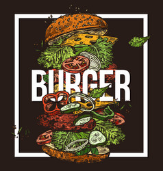 sketch poster with flying burger drawing food vector image