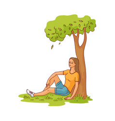Sketch young woman sitting under tree vector