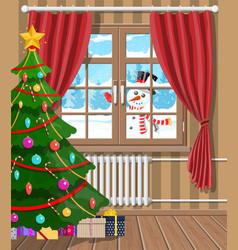 snowman looks in living room window vector image
