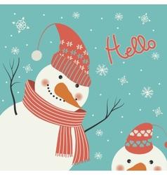 Snowman says hello vector