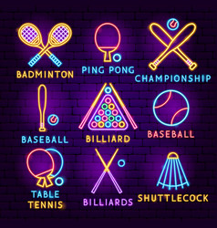 sport items neon label set vector image