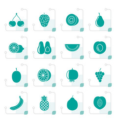 stylized different kind of fruit and icons vector image