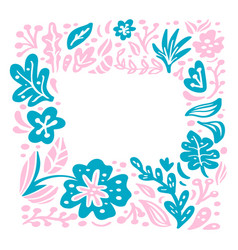 summer floral frame scandinavian tropical vector image