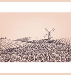 sunflower hills artistic landscape windmill vector image