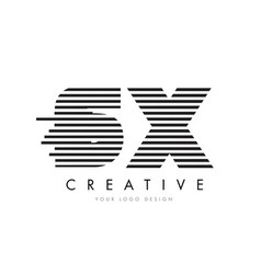 sx s x zebra letter logo design with black and vector image