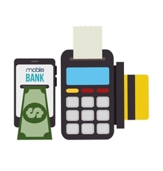 technology dataphone and smartphone bank vector image
