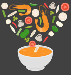Thai cuisine tom-yam-kung spicy thai shrimp soup vector