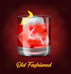 The glass of old-fashioned cocktail on the red vector