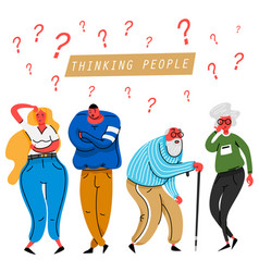 thinking people thoughtful elderly and young vector image