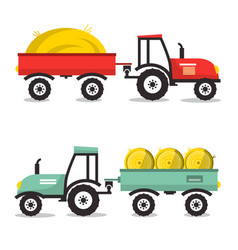 Tractor with dray flat design flat design vector