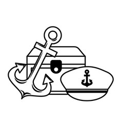 treasure chest anchor and hat emblem vector image