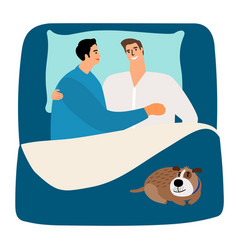 Two men and dog in bed vector