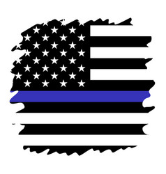 united states flag with blue line to honor police vector image