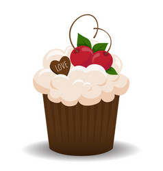 Valentine cupcake with chocolate and cherry vector