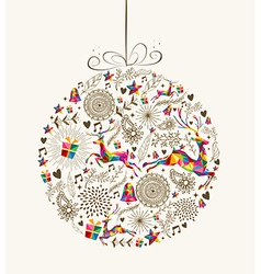 Vintage Christmas bauble greeting card vector