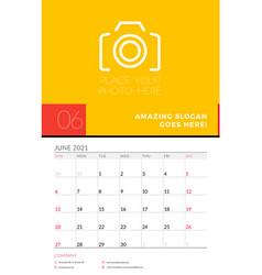 Wall calendar planner template for june 2021 week vector