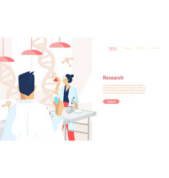 Web banner template with pair of scientists vector