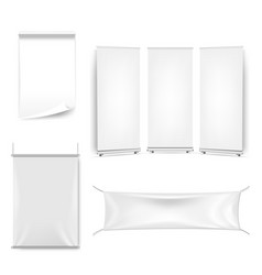 white blank sheet curled paper isolated white vector image