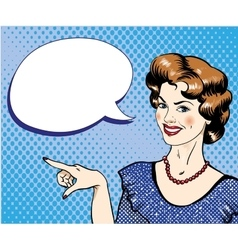 Woman with speech bubble pointing finger vector