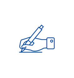 writing signhand with pen line icon concept vector image