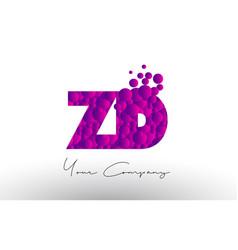 Zd z d dots letter logo with purple bubbles vector