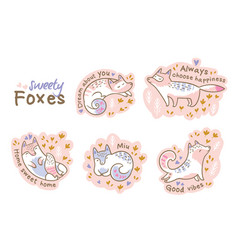 cute summer stickers of cartoon cats or foxes vector image vector image