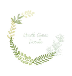 greenery scribble hand drawn foliage border vector image