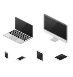 Isometric 3d laptop tablet smartphone computer vector image vector image