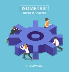 isometric business team pushing a big cogwheel vector image vector image
