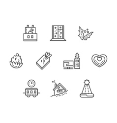 New Year at work black line icons set vector image vector image