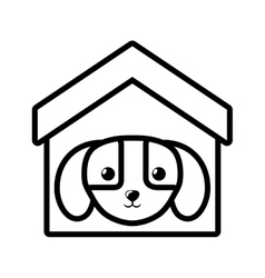 puppy domestic mammal house pet outline vector image vector image