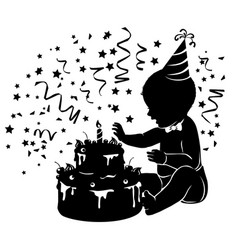 silhouette baby with birthday cake with candle vector image vector image