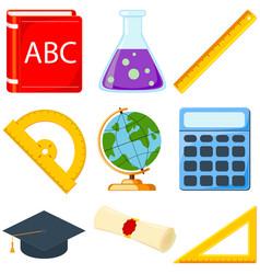 colorful cartoon school set 9 elements vector image vector image