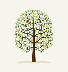 green hand print tree environment vector image vector image