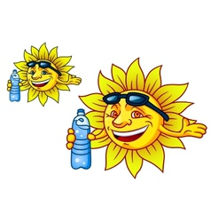 Laughing tropical sun with bottled water vector